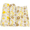 Miracle Blanket Giraffes and Lions 2 Piece Swaddle Blanket Set