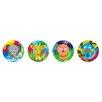 "French Bull Jungle 8"" Melamine Kids Round Plates 4 Piece Set (Set of 4)"