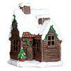 """Exhart 12"""" Holiday Log Cabin with Automatic Timer"""
