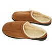 Deluxe Comfort Camel Suede Male Slippers with Wool Fleece Lining