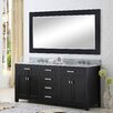 """Water Creation Madison 72"""" Double Bathroom Vanity Set with Large Mirror"""