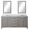 "Water Creation Madison 72"" Double Sink Bathroom Vanity Set with Mirror"