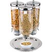 Paderno World Cuisine 4.8 Qt. 3 Dispenser Polypropylene Cereal Dispenser with Stainless Steel Lid