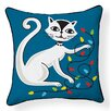 Naked Decor Cat with String Lights Indoor/Outdoor Throw Pillow
