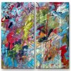 All My Walls 'Abstract with Drips and Splashes' by Mike Henderson 2 Piece Painting Print Plaque Set