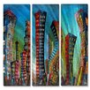 All My Walls 'New York City Jazz Night' by Marina Rehrmann 3 Piece Painting Print Plaque Set