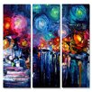All My Walls 'Midnight Harbor XIX' by Aja-Ann Soura 3 Piece Painting Print Plaque Set
