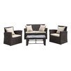 Handy Living La Jolla 4 Piece Deep Seating Group with Cushions