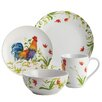 BonJour Meadow Rooster Stoneware 16 Piece Dinnerware Set