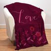 Checkerboard, Ltd Love in Magenta Fleece Throw Blanket