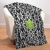 Checkerboard, Ltd Monogram Damask Personalized Fleece Throw Blanket