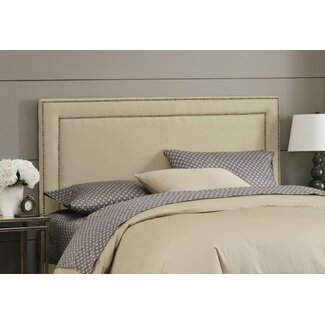 Skyline Furniture Nail Button Border Headboard in Premier Oatmeal Upholstery