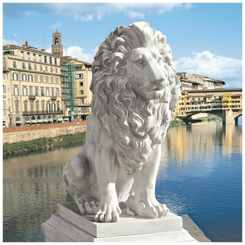 design toscano lion of florence sentinel statue reviews wayfair. Black Bedroom Furniture Sets. Home Design Ideas