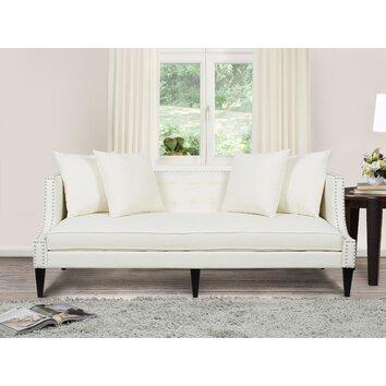 Caroline recessed tuxedo sofa wayfair for White sectional sofa wayfair