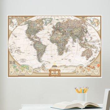 Wall art kit national geographic world map wall mural for Dry erase world map wall mural