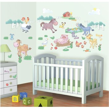bathrooms for kids walltastic wall baby on the farm wall decal wayfair 11988
