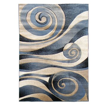 Sculpture Blue Beige Abstract Swirl Area Rug Wayfair