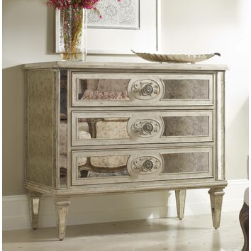 Hooker Furniture 3 Drawer Antique Mirrored Chest & Reviews