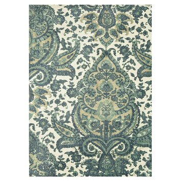Delphine Rug in Teal & Cream