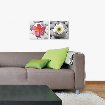 Platin art deco glass beautiful flower 2 piece photographic print set reviews wayfair - Deco muurdecoratie ...