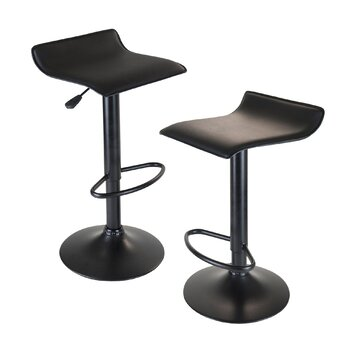 Winsome Obsidian Adjustable Height Swivel Bar Stool With