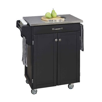 home styles cuisine kitchen cart with stainless steel top reviews wayfair. Black Bedroom Furniture Sets. Home Design Ideas