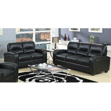 Baxton Studio Duncan Leather Modern Sofa Set Wayfair