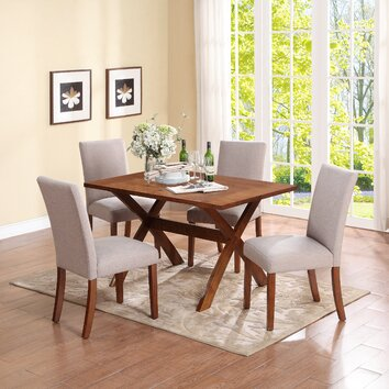 image of a living room dorel living trestle dining table allmodern 23138