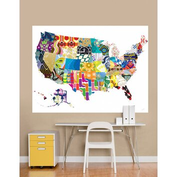 Patriotic patterns wall mural wayfair for Daisy fuentes wall mural