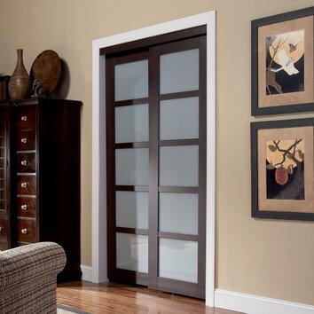 Baldarassario 2 panel painted sliding interior door wayfair for Erias home designs mirror