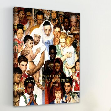 Golden rule by norman rockwell painting print on wrapped for Golden rule painting