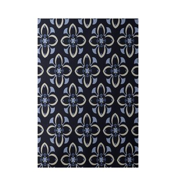 Floral Navy Blue Indoor Outdoor Area Rug