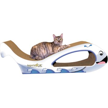 Imperial cat scratch n 39 shapes giant whale recycled paper for Chaise lounge cat scratcher