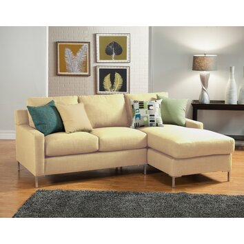 Hokku designs albany reversible chaise sectional allmodern for Albany saturn sectional sofa chaise