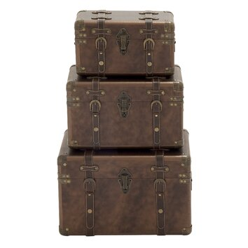 3 Piece Wood And Leather Trunk Set Wayfair