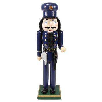 Decorative wooden christmas nutcracker police officer for Floor nutcracker
