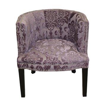 Hd couture bohemian plum fan damask barrel chair reviews for Black damask chaise longue