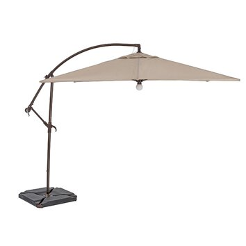 9 39 square cantilever umbrella with light wayfair. Black Bedroom Furniture Sets. Home Design Ideas