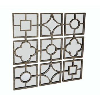 Metal Design 9 Small Square Mirrors Wall Decor | Wayfair