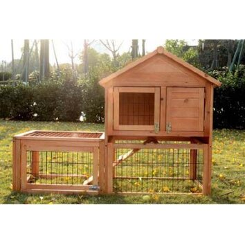 Rabbit hutch with outdoor run wayfair for Aosom llc outsunny chaise lounge