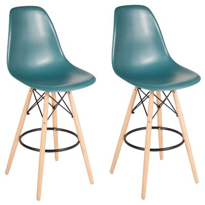 "Siple Mid-Century Modern Retro 26.5"" Bar Stool Color: Teal"