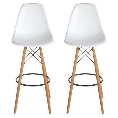 "Sipos Retro 31.5"" Bar Stool Frame Color: Brown, Seat Color: White"