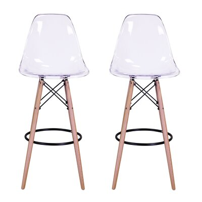 "Sipos Retro 31.5"" Bar Stool Frame Color: Brown, Seat Color: Clear"