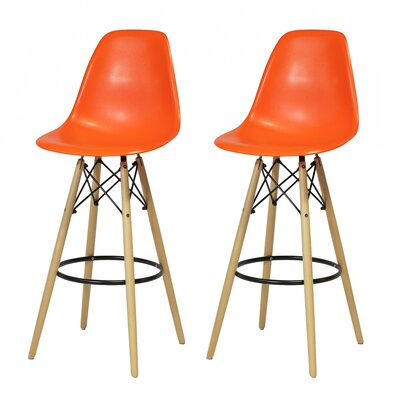 "Sipos Retro 31.5"" Bar Stool Frame Color: Brown, Seat Color: Orange"