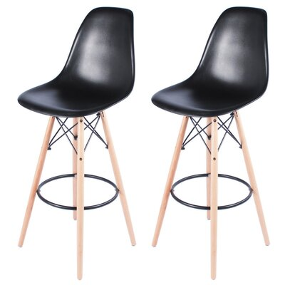 "Sipos Retro 31.5"" Bar Stool Frame Color: Brown, Seat Color: Black"