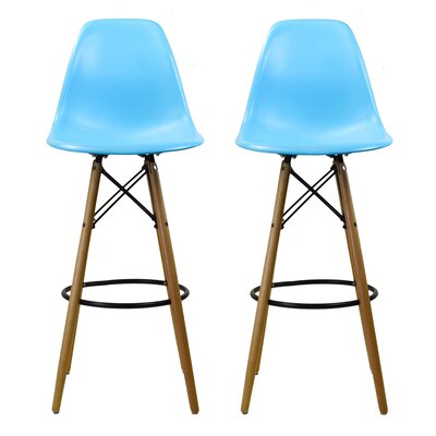 "Sipos Retro 31.5"" Bar Stool Frame Color: Brown, Seat Color: Blue"