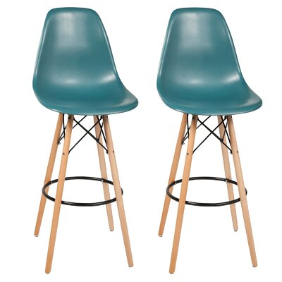 "Sipos Retro 31.5"" Bar Stool Frame Color: Brown, Seat Color: Teal"