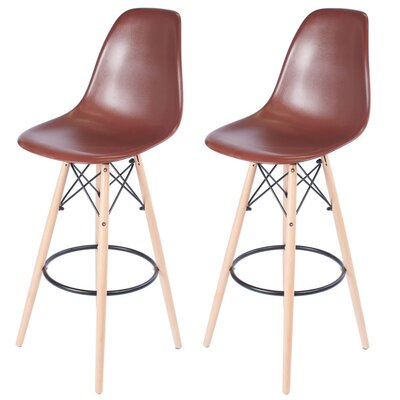 "Sipos Retro 31.5"" Bar Stool Frame Color: Brown, Seat Color: Brown"