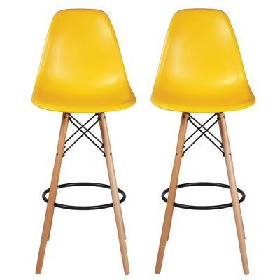 "Sipos Retro 31.5"" Bar Stool Frame Color: Brown, Seat Color: Yellow"