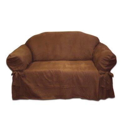 Box Cushion Loveseat Slipcover Upholstery: Chocolate